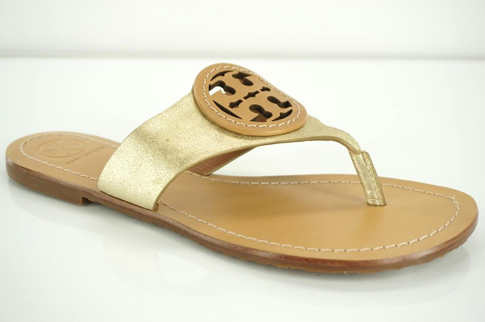 d76d1b4a2 Tory Burch Gold Brown Logo Metallic Leather Louisa Slide Sandals ...