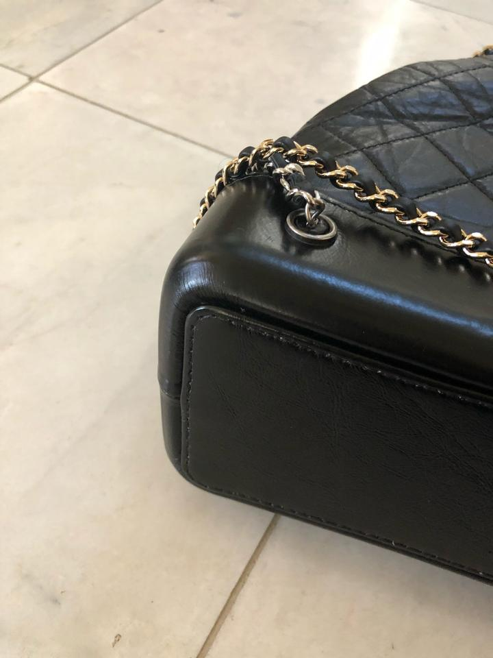 e2082775e582 Chanel Gabrielle Medium with Silver and Gold Hardware Black Aged Calfskin/ Smooth Calfskin Backpack - Tradesy