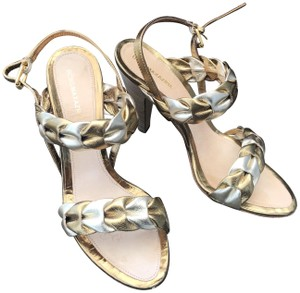 b846d0f2201f BCBGMAXAZRIA Ankle Strap Pleated Leather Gold and Silver Sandals