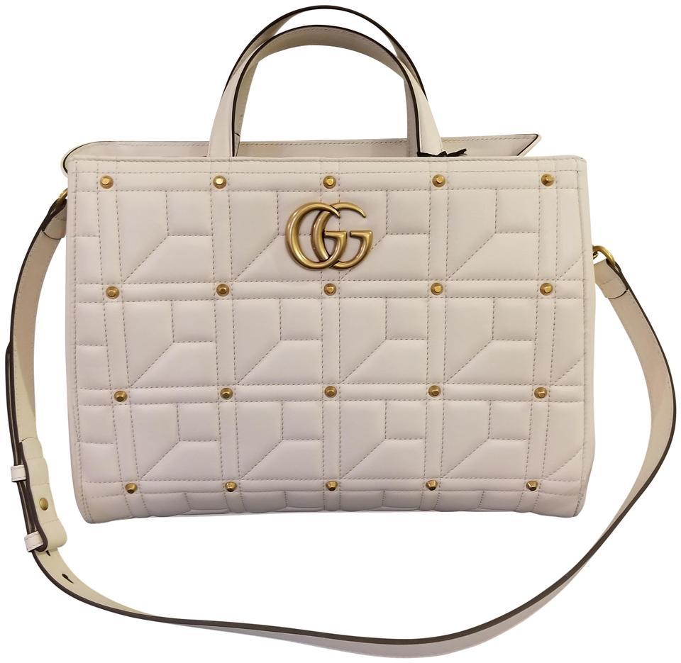68c2104292b0 Gucci Marmont Studded Matelasse Gg Top Handle White Leather Shoulder ...