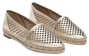Frye Perforated Espadrille Metallic Pointed Toe Gold Flats