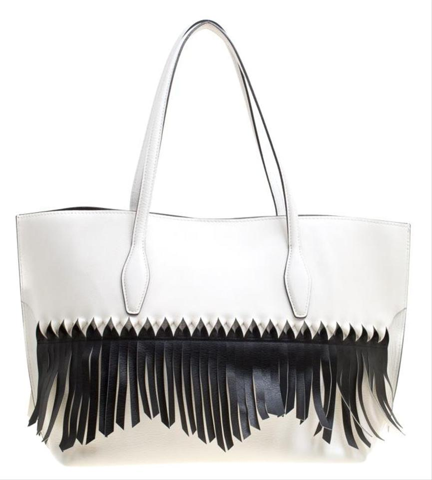 Tods Shopping Whiteblack Origami Fringe White Leather Tote 72 Off Retail