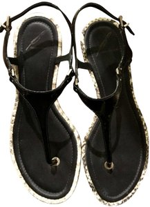 Brian Atwood Patent Leather Snakeskin Embossed Black Flats