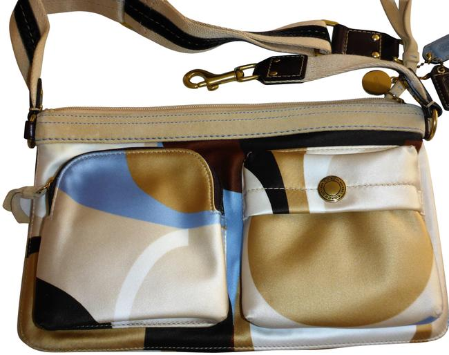 Item - Waist Water Resistant Beige Blue Brown Gold Satin and Leather Trim Weekend/Travel Bag