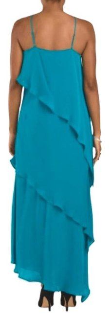 Item - Teal V-halter Gown Evening Silk Long Night Out Dress Size 4 (S)