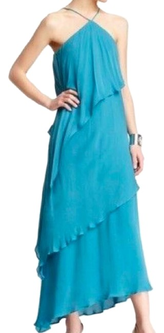 Item - Teal V-halter Gown Evening Silk Long Night Out Dress Size 8 (M)