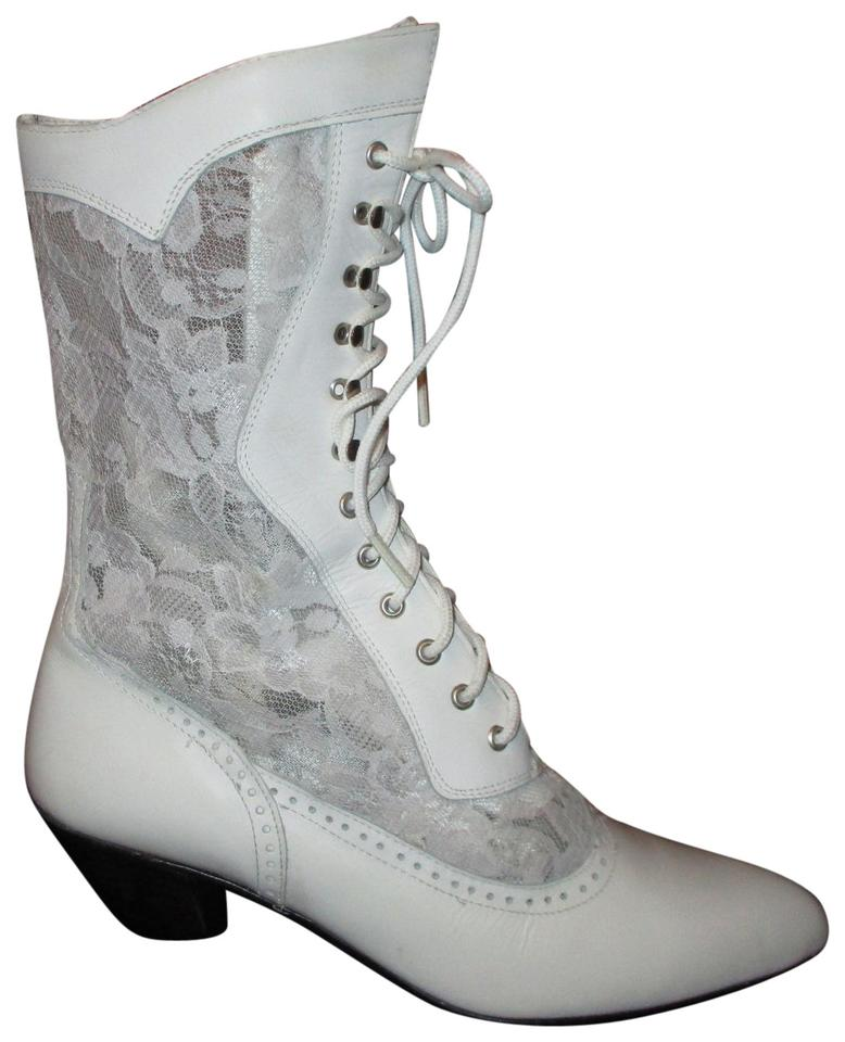076c1097f94 White Leather and Lace Granny Boots/Booties Size US 8 Regular (M, B)