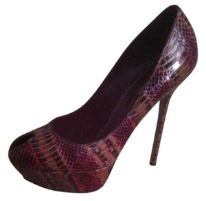 Sergio Rossi Brown/burgundy Snake Pumps
