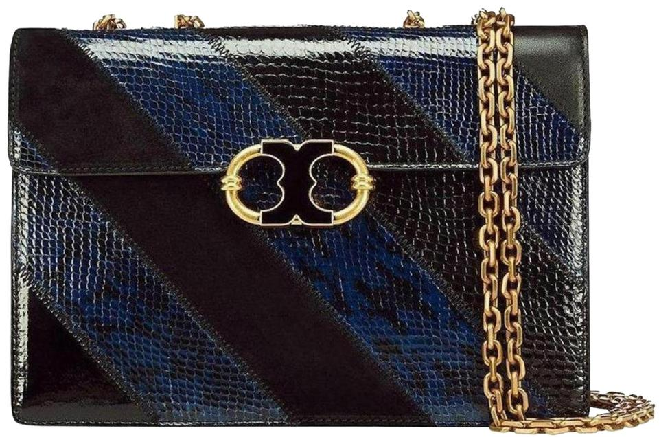 36e87acc243 Tory Burch Gemini Link New Snakeskin Shoulder Purse Limited Edition Black Navy  Leather Cross Body Bag