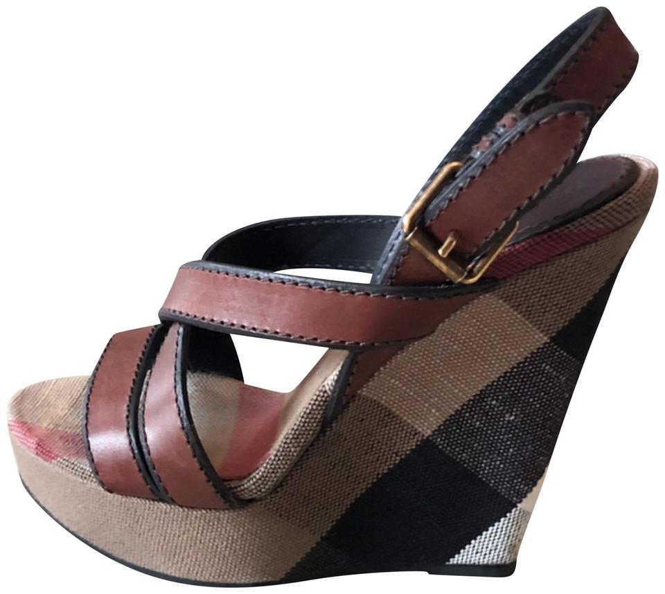 f830c3b11912 Burberry Brown Criss Cross Warlow 125 Brit Check Sandals Wedges Size ...