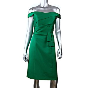 Alfred Angelo Green Polyester Modern Bridesmaid/Mob Dress Size 14 (L)