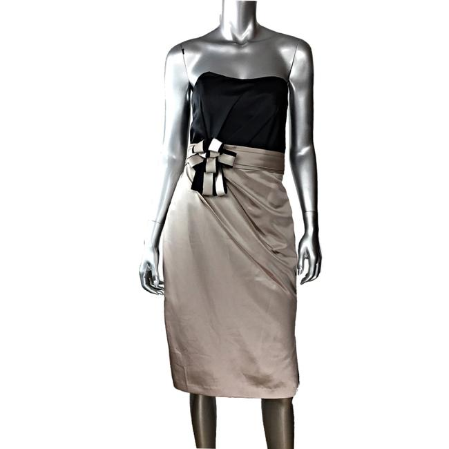 Item - Black Satin Strapless Nwot Modern Bridesmaid/Mob Dress Size 10 (M)