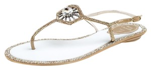 d23985515ace Rene Caovilla Metallic Embellished Crystal Satin Gold Flats