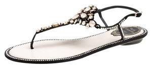 Rene Caovilla Suede Leather Crystal Embroidered Black Flats