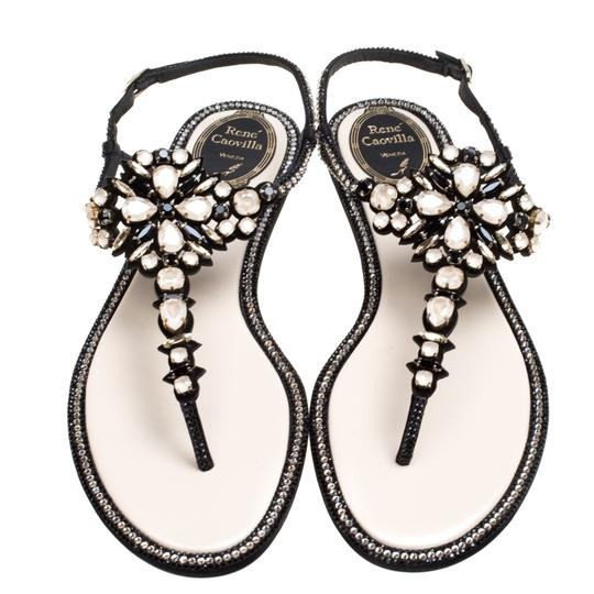 Rene Caovilla Suede Leather Crystal Embroidered Black Flats Image 2