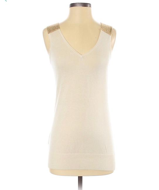 Item - Silk/Cashmere Knit Tunic Tank with Metallic Details Beige/Gold Top