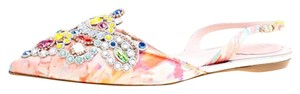 Rene Caovilla Satin Crystal Embellished Pointed Toe Multicolor Flats