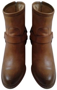 Frye Harness Ankle Leather Rubber Sole Stacked Heel Camel Boots