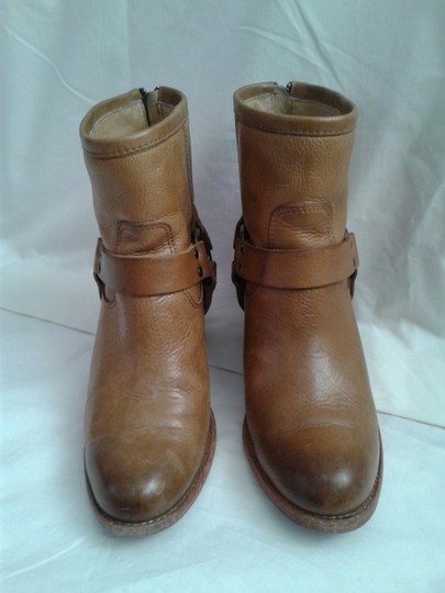 Frye Harness Ankle Leather Rubber Sole Stacked Heel Camel Boots Image 1