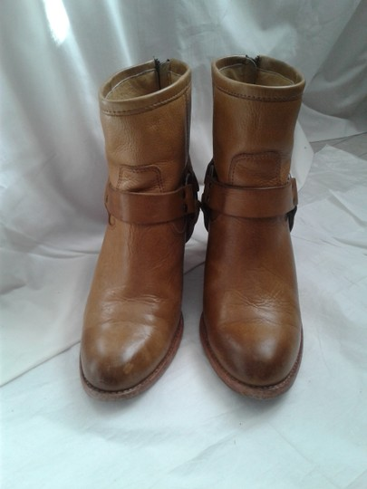 Frye Harness Ankle Leather Rubber Sole Stacked Heel Camel Boots Image 6