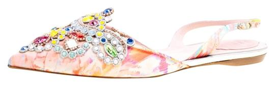 Rene Caovilla Satin Crystal Embellished Pointed Toe Multicolor Flats Image 0