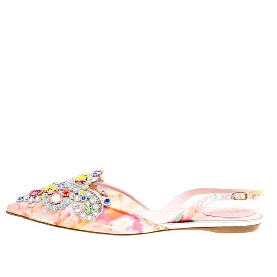 Rene Caovilla Satin Crystal Embellished Pointed Toe Multicolor Flats Image 1