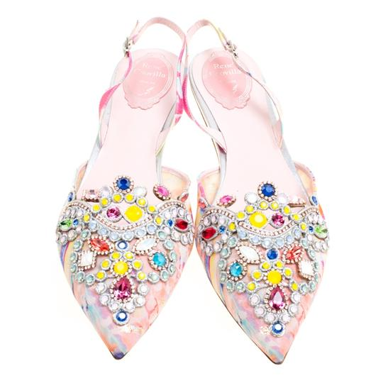 Rene Caovilla Satin Crystal Embellished Pointed Toe Multicolor Flats Image 2