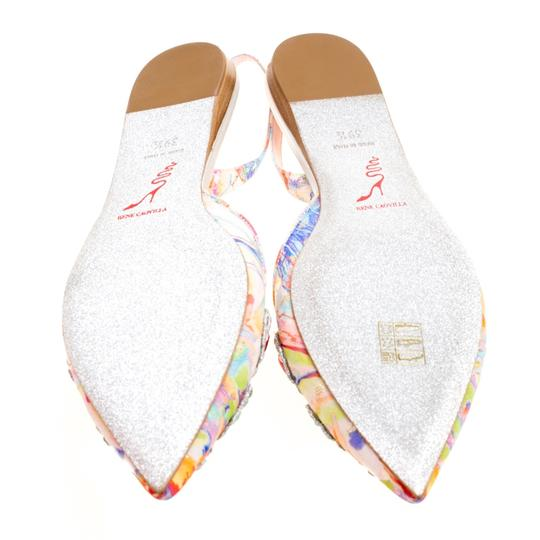 Rene Caovilla Satin Crystal Embellished Pointed Toe Multicolor Flats Image 5