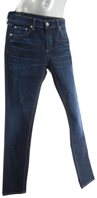 Item - Navy Blue Cotton Blend 5 Pocket Narrow Denim Straight Leg Jeans Size 29 (6, M)