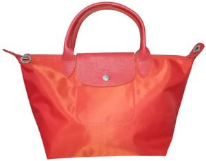 58d1ee1bfa8f Added to Shopping Bag. Longchamp Small Tote Satchel in Clementine. Longchamp  Le Pliage Neo Small Top Handle ...