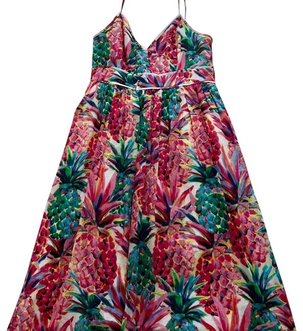 Item - Pink Green Blue Ratti Painted Pineapple Mid-length Cocktail Dress Size 0 (XS)