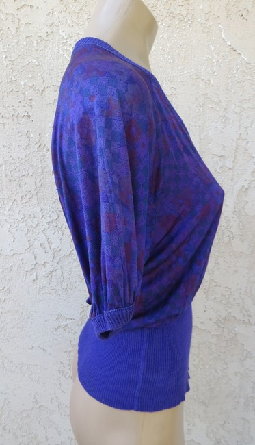 Missoni Knit Floral Silk Short Sleeve Size Xs Small Designer Top Purple