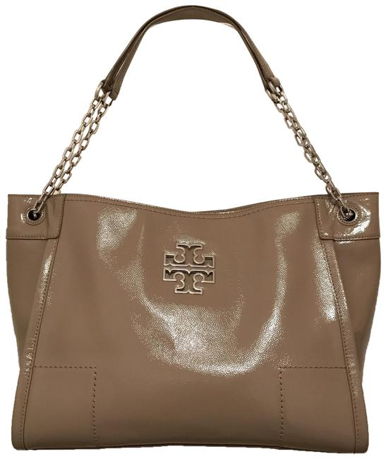Item - Britten Slouchy French Gray Taupe Silver Patent Leather Tote