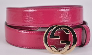Gucci New Gucci Women's 114874 Pink Patent Leather GG Buckle Belt