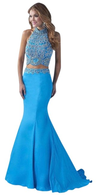 Item - Caribbean Blue High Halter Neck Beaded Prom 2-piece Gown Long Formal Dress Size 6 (S)