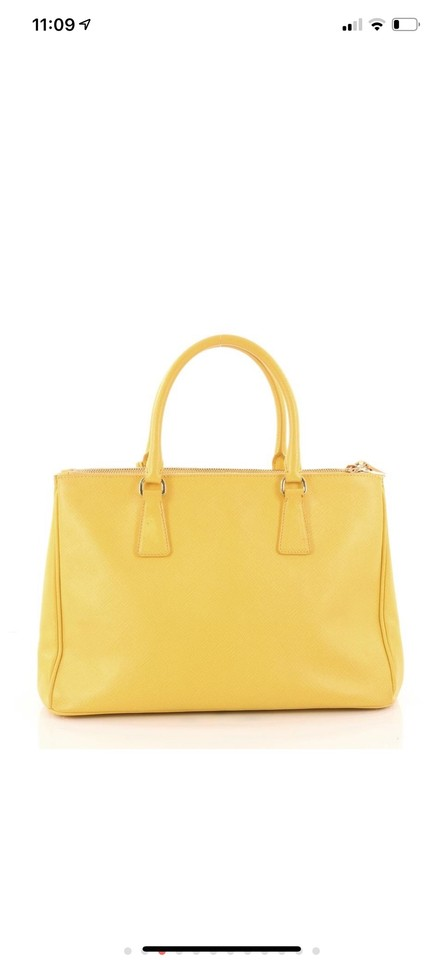 08e13cdc35f24e Prada Double Lux Zip Medium Yellow Satchel Mustard Saffiano Leather ...