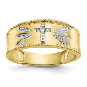 Apples of Gold 10k Diamond Accent Cross Band Ring Men's Jewelry/Accessory