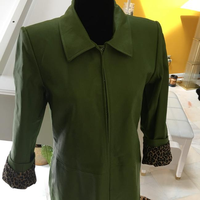 Other Apple Green Leather leopard Leather Jacket