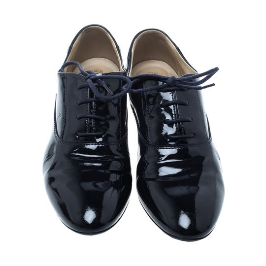 Tod's Patent Leather Lace Blue Flats