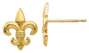 Apples of Gold 14K YELLOW GOLD FLEUR-DE-LIS STUD EARRINGS