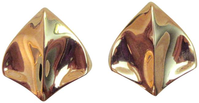 Item - Gold Plated Modernist Stingray Signed Made In Italy Earrings
