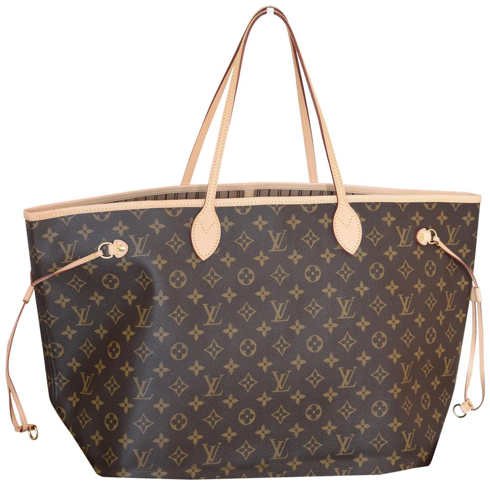 2277e25d6 Louis Vuitton Lv Neverfull Never Full Mm Neverfull Gm Tote in Monogram with  Beige textile lining ...