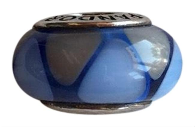 Item - Blue and Gray Triangle Design Retired Murano Glass Bead Charm