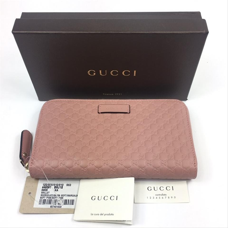 25e63133a3c636 Gucci Gucci Micro-GG Signature Pink Leather Zip Around Wallet #449391 Image  8. 123456789