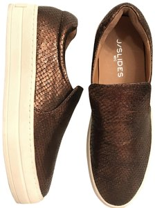 J/Slides Leather Athletic Sneakers Slip Ons Snakeskin Bronze brown white Flats