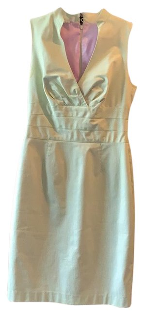 Item - Green Micro Stripe with A Fun Lavender Lining Mid-length Short Casual Dress Size 6 (S)