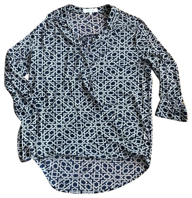 Item - Navy and Beige Wrap Front Tunic Size 6 (S)
