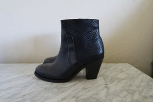 H by Hudson Snakeskin Leather Black Boots