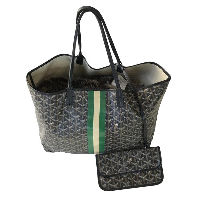 Item - ine Chevron St.louis Black with White & Green Stripe Coated Canvas Tote
