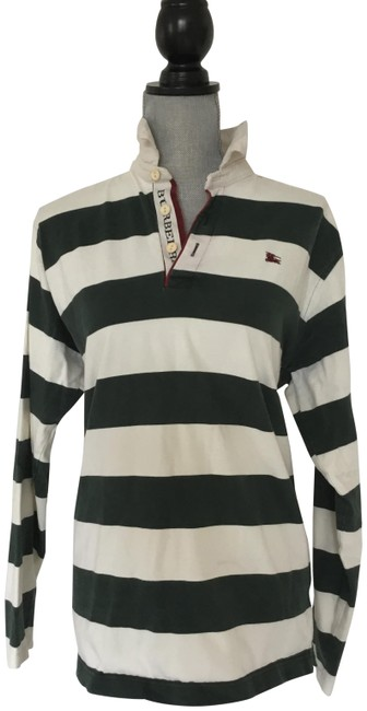 Item - White and Green Rugby Sweatshirt/Hoodie Size 10 (M)